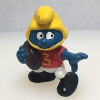 Vintage 1980 PEVO Schleich Football Smurf Figure Yellow Helmet Number 3