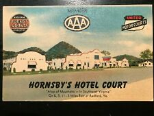 Vintage Postcard>1950's>Hornsby's Hotel Court>Top of Mountains>US 11>Radford>Va.