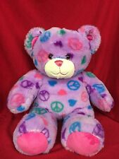 "Build A Bear Tie Dyed Colorful Peace Sign Pattern Teddy Bear 15"" Stuffed Plush"