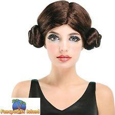 SCI-FI SPACE PRINCESS LEIA STAR WARS WIG Womens Ladies Fancy Dress Costume