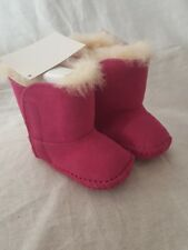 Nib Ugg Baby Girl'S Caden Infant Princess Pink Suede Boots Xs Size: 0-1