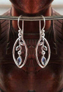 516 Solid 925 Sterling Silver Labradorite Faceted Gemstone Earring rrp$59.95