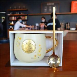 2021 NEW Starbucks Osmanthus Flower Coffee Mugs W/ Gold Spoon LimitedEdition Cup