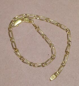 """14k Solid Yellow Gold Paperclip Link Chain Bracelet 7"""" 2.4mm 1.98 grams"""