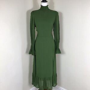 Reformation Galene mockneck midi dress size 10 green long sleeve