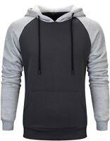 Men's Contrast Raglan Long-Sleeve Pullover Blend Fleece Hoodie with Kanga Pocket