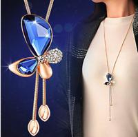 Damen Halskette Schmuck Collier Anhänger Gold lang Kette Mode Strass Luxus 39€