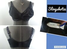 """""""38DD"""" *Just My Size 1988* Black Floral Unlined Sheer Underwire Minimizer Bra"""