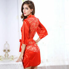 Set of 2 Red/Black Sexy short Satin lace style Kimono Robe/wrap Lingerie XL12/14