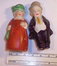 2 Antique German All Bisque Miniature Figurine Middle Aged Couple Hertwig