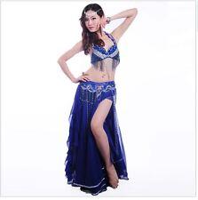 Belly Dance Costume Set 3 Pcs (bra+skirt+belt) Suit handmade beads and sequins