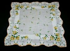 Vintage Cotton Handkerchief-Yellow Roses-Lady'S Floral Hanky-Scalloped Edge