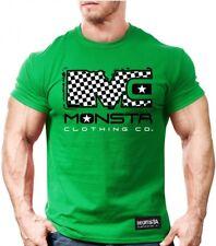 New Men's Monsta Clothing Mc-Monsta Checker Board Bodybuilding Tee: Green