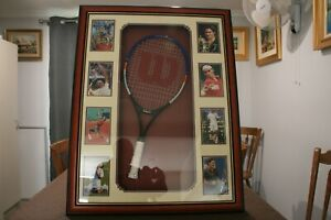 Roger Federer Signed Wilson Tennis Racket with Photos and COAFramed