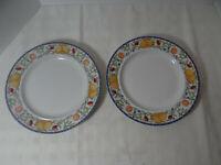 "Dansk Fiance Fruits Dinner Plates 11"" Made in Thailand Set of 2"