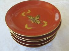 VINTAGE SET 5 ASSORTD JAPANESE RED LACQUER WARE PLATES SAKE CUPS GOLD DECORATION