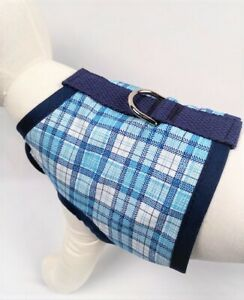 Navy, Light Blue, And White Plaid Dog Harness Clothes Apparel Vest