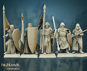 Crusaders, Highland Miniatures, Bretonnian proxies, 9th age