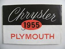 Brochure CHRYSLER PLYMOUTH 1955 pour la Belgique