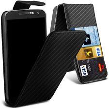 Cuero PU Abatible Premium Calidad Superior Personalizado Teléfono Estuche Cubierta ✔ Negro de fibra de carbono