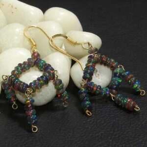 Sterling Silver Natural Ethiopian Opal Earring Black Beads Earring Opal Jewelry