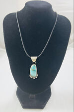 Light Blue Turquoise Pendant Native American Sterling Silver