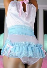Unisex Plus size/Tall romper ruffled nylon VTG style skirted sissy teddy sz XL
