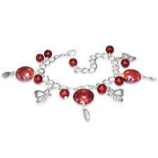 Rojo Perla Cristal de mariposa pulsera con dijes Colgantes níquel libre de la joyería de Reino Unido