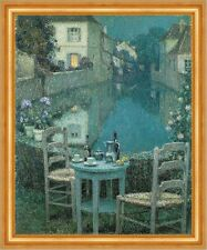 Small Table in Evening Dusk Henri Le Sidaner Abend Stadt Tisch Kanal B A3 02246