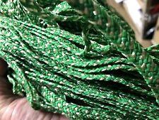 VINTAGE FRENCH HAT MILLINERS Raffia BRAID Emerald & Ivory 1940-50s 10yds