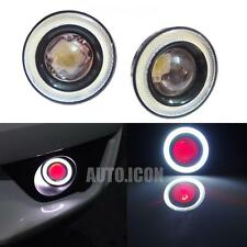 "2pcs High Power 3.0"" LED Fog Light w/ COB Angel Eye Rings Red Devil Lights Cars"