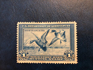 RW 1  Used  US FEDERAL DUCK STAMP  No Gum