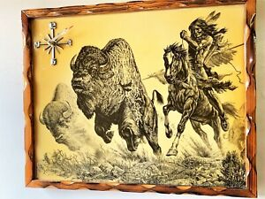 VINTAGE LARGE SCENERY WALL CLOCK, INDIAN HUNTS BUFFALO, BATTERY, FREE SHIPPING