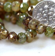 Preciosa Faceted Glass Rondelle Beads, 7x5mm, Champagne Mix, 25 Pieces