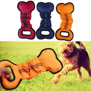 Pet Dog Toys Chewers Interactive Pull Chew Bone Shape Canvas Durable Trainin^KN