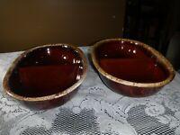 2 Hull Pottery Brown Drip Divided Bowls