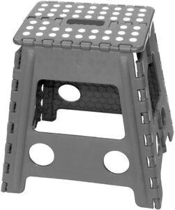150KG Folding Step Stool Seat Multi Purpose Home Kitchen Compact Foldable Grey