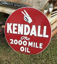 "Antique Vintage Old Style 24"" Kendall 2000 Mile Oil Sign"