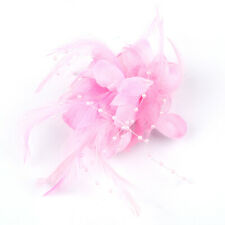 Women Pearl Brooch Hair Clip Flower Fascinator Feather Hairpin Party Wedding hot