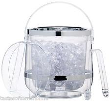 Kitchen Craft claro con paredes dobles con aislamiento de acrílico cubo de hielo, tapa y pinzas Set