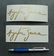 2x stickers Auto Signature Ayrton Senna Or/Gold 14cm B12-930