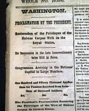 HABEAS CORPUS Restored in North Post Civil War Reconstruction 1865 Old Newspaper
