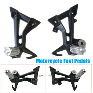 Left + Right Motorcycle Foot Pedals Rear Foot Pegs Rest Pedal Pads Foot Bracket