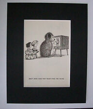 Dog Kids Cartoon Print Norman Thelwell Block Vintage TV Bookplate 1964 Matted