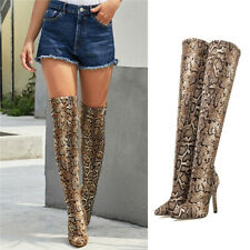 Women Over The Knee Thigh High Heel Shoes Snakeskin Print Stretch Calf Leg Boots