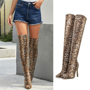 Women Over The Knee Boots Thigh High Heel Shoe Sexy Snakeskin Print Stretch Boot
