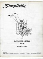 Original Simplicity 360 Supermatic Roticul 4hp Tiller Owners Manual Parts List