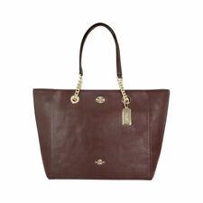 Coach Ladies Large Leather Chain Tote Handbag- Brown