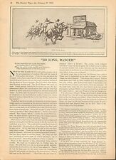 "TEXAS RANGER RARE HISTORY - ""SO LONG RANGER""+ Sam Bass,Owen White,Paine,McDonald"