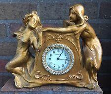 Rare Art Nouveau New Haven Clock Co. Gilt Bronze Figural Myth Rhinestone Clock